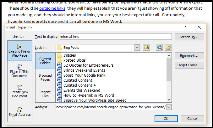 how to make internal links in microsoft word